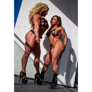 Busty Female Bodybuilders Aleesha and Brandi Mae Flexing and Teasing