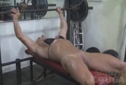 Naked Female Bodybuilder Lacey Works Out