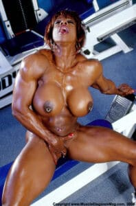 Naked women with muscle body