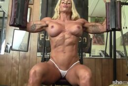 JILL JAXEN Pro Blonde Female Bodybuilder With Perfect Round Big Tits