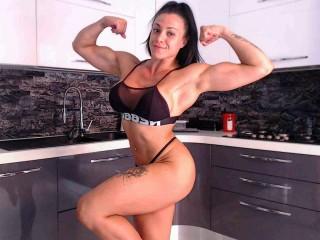 brunette camgirl flex her big biceps