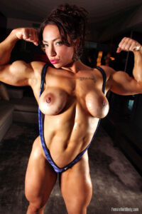 Busty Girl Bodybuilder Brandi Mae Flexing Her Perfect Muscles