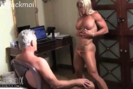 mixed wrestling with female muscle and scissoring