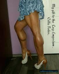 Muscle legs high heels