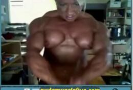 JULIE bourrassa topless flexing her big upper body
