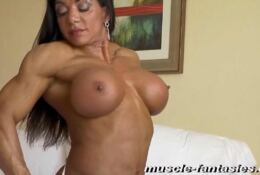Nude and flex tanned muscle body MARINA LOPEZ
