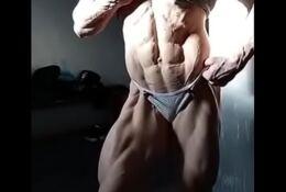 Shredded hot woman Flexing it all fbb