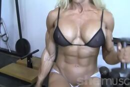 Hot Blond Female Body Builder almost naked workout
