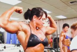 Spanish FBB Candy Canary abs and big arms works out