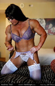 Female bodybuilders in stocking lingerie and high heels