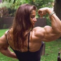 woman with a huge biceps