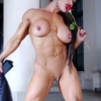 nude strong lady with abs